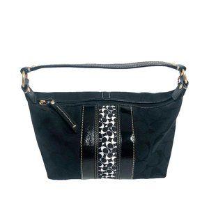 Coach Black Striped Patchwork Mini Shoulder Bag